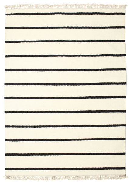 Dorri Stripe - Bianco/Nero Tappeto 140X200 Moderno Tessuto A Mano Beige/Bianco/Creme (Lana, India)