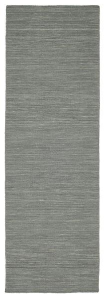 Kilim Loom - Grigio Scuro Tappeto 80X250 Moderno Tessuto A Mano Alfombra Pasillo Grigio Chiaro/Verde Scuro (Lana, India)