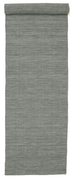 Kilim Loom - Grigio Scuro Tappeto 80X500 Moderno Tessuto A Mano Alfombra Pasillo Grigio Chiaro/Verde Scuro (Lana, India)