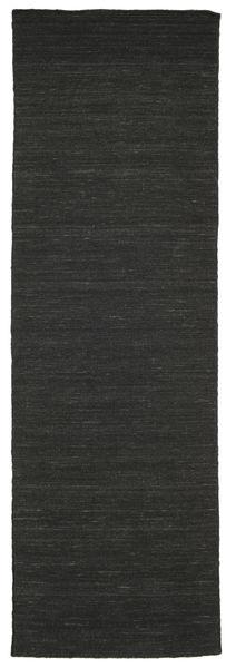 Kilim Loom - Nero Tappeto 80X250 Moderno Tessuto A Mano Alfombra Pasillo Nero (Lana, India)