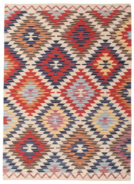 Kilim Usak Tappeto 140X200 Moderno Tessuto A Mano Beige/Ruggine/Rosso (Lana, India)