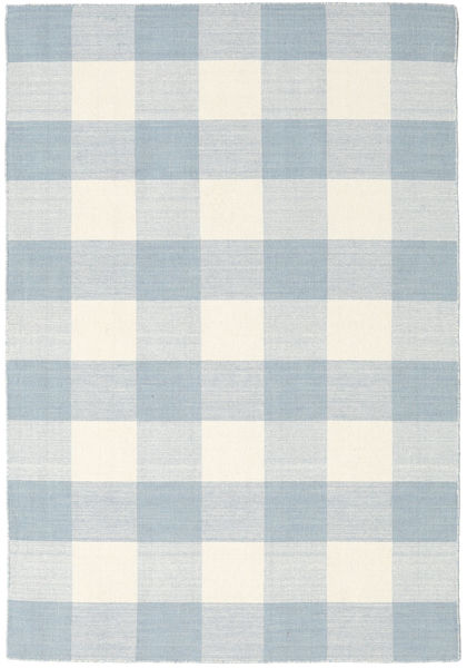 Check Kilim Tappeto 140X200 Moderno Tessuto A Mano Bianco/Creme/Beige/Azzurro (Lana, India)
