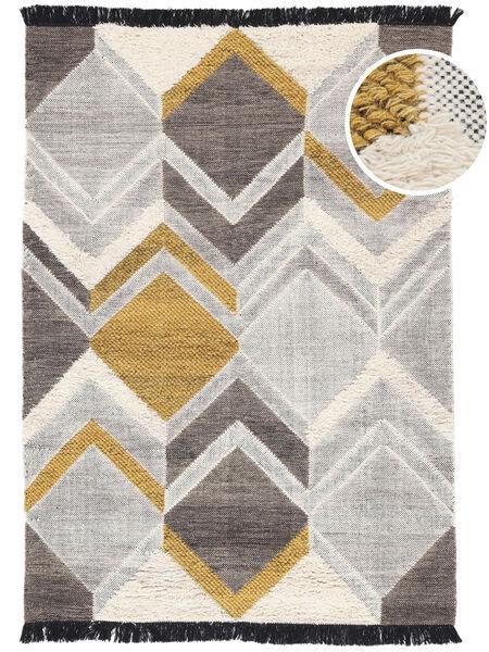 Silvana - D'oro Tappeto 160X230 Moderno Tessuto A Mano Grigio Chiaro/Beige Scuro (Lana, India)