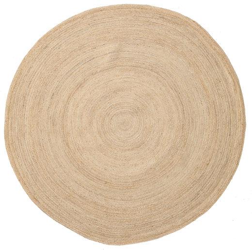 Solana Plain Jute - Natural Tappeto Ø 200 Moderno Tessuto A Mano Rotondo Beige/Beige Scuro ( India)