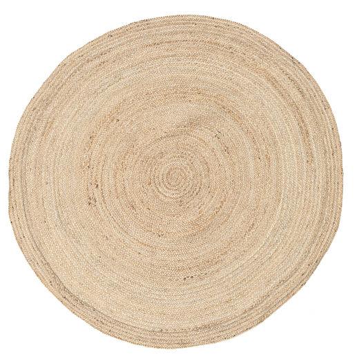 Solana Plain Jute - Natural Tappeto Ø 150 Moderno Tessuto A Mano Rotondo Beige/Marrone Chiaro ( India)
