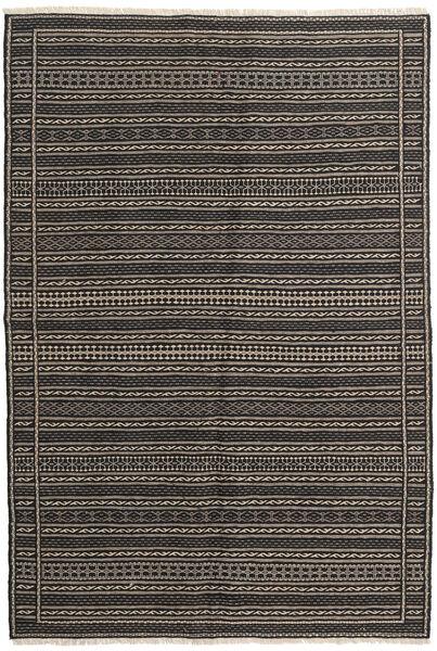 Kilim Tappeto 138X204 Orientale Tessuto A Mano Nero/Grigio Scuro (Lana, Persia/Iran)