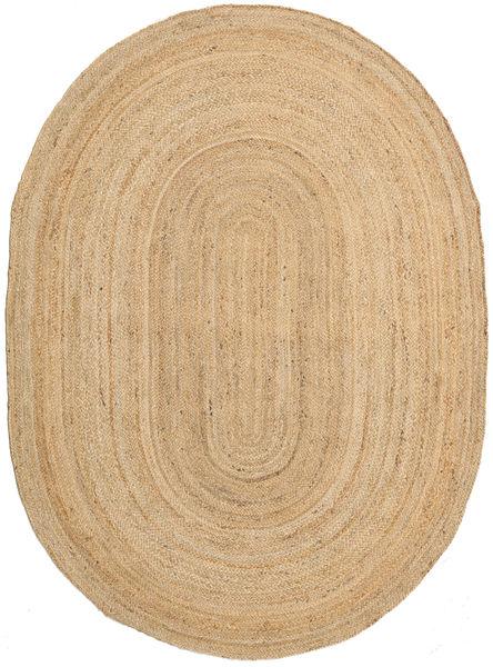 Tappeto Esterno Frida Oval - Natural Tappeto 160X230 Moderno Tessuto A Mano Beige Scuro/Beige (Tappeto In Iuta India)
