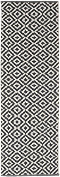 Torun - Nero/Neutral Tappeto 80X250 Moderno Tessuto A Mano Alfombra Pasillo Nero/Grigio Chiaro (Cotone, India)
