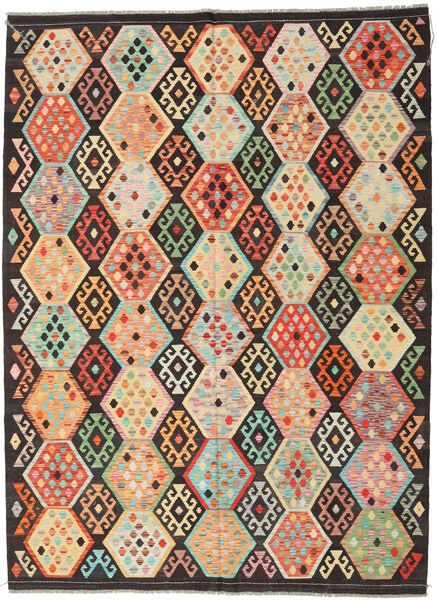 Kilim Afghan Old Style Tappeto 216X291 Orientale Tessuto A Mano Marrone Scuro/Beige Scuro (Lana, Afghanistan)