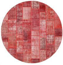 Patchwork Tappeto Ø 300 Moderno Fatto A Mano Rotondo Ruggine/Rosso/Rosso Scuro/Rosa Chiaro Grandi (Lana, Turchia)