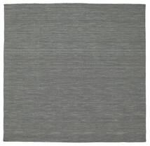 Kilim Loom - Grigio Scuro Tappeto 200X200 Moderno Tessuto A Mano Quadrato Verde Scuro/Grigio Chiaro (Lana, India)