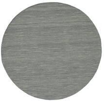 Kilim Loom - Grigio Scuro Tappeto Ø 150 Moderno Tessuto A Mano Rotondo Grigio Chiaro/Verde Scuro (Lana, India)