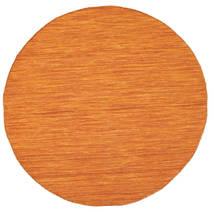Kilim Loom - Arancione Tappeto Ø 150 Moderno Tessuto A Mano Rotondo Arancione (Lana, India)