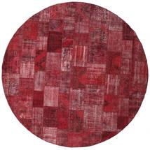 Patchwork Tappeto Ø 402 Moderno Fatto A Mano Rotondo Rosso Scuro/Porpora Grandi (Lana, Turchia)
