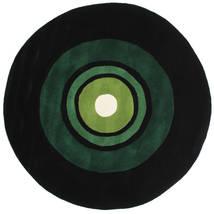 Schallplatte Handtufted Tappeto Ø 150 Moderno Rotondo Verde Scuro (Lana, India)