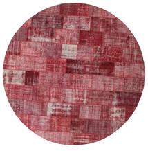Patchwork Tappeto Ø 400 Moderno Fatto A Mano Rotondo Rosso Scuro/Porpora Grandi (Lana, Turchia)