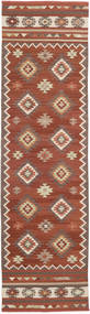 Kilim Malatya Tappeto 80X300 Moderno Tessuto A Mano Alfombra Pasillo Rosso Scuro/Marrone Scuro (Lana, India)