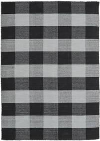 Check Kilim Tappeto 160X230 Moderno Tessuto A Mano Nero/Grigio Chiaro (Lana, India)