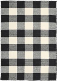 Check Kilim - Nero/Bianco Tappeto 160X230 Moderno Tessuto A Mano Nero/Grigio Scuro (Lana, India)