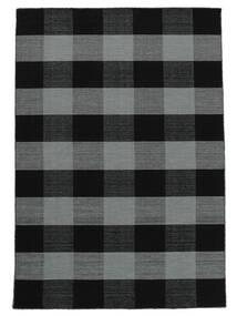 Check Kilim Tappeto 160X230 Moderno Tessuto A Mano Nero/Porpora (Lana, India)