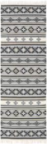 Kilim Cizre Tappeto 80X250 Moderno Tessuto A Mano Alfombra Pasillo Grigio Chiaro/Grigio Scuro (Lana, India)