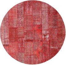 Patchwork Tappeto Ø 300 Moderno Fatto A Mano Rotondo Ruggine/Rosso/Rosso Scuro/Rosso Grandi (Lana, Turchia)