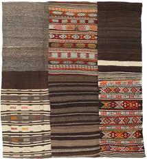 Kilim Patchwork Tappeto 204X227 Moderno Tessuto A Mano Marrone Scuro/Rosso Scuro (Lana, Turchia)