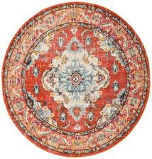 Leia - Arancione Tappeto Ø 200 Moderno Rotondo Marrone Chiaro/Rosso ( Turchia)