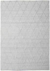 Svea - Grigio Argentato Tappeto 300X400 Moderno Tessuto A Mano Grigio Chiaro/Bianco/Creme Grandi (Lana, India)