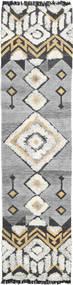 Deco Tappeto 80X350 Moderno Tessuto A Mano Alfombra Pasillo Grigio Chiaro/Beige Scuro (Lana, India)