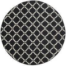 London - Nero/Bianco Sporco Tappeto Ø 225 Moderno Tessuto A Mano Rotondo Nero (Lana, India)