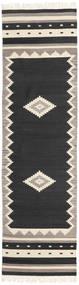 Tribal - Nero Tappeto 80X300 Moderno Tessuto A Mano Alfombra Pasillo Nero/Grigio Chiaro (Lana, India)