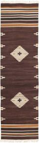 Tribal - Marrone Tappeto 80X300 Moderno Tessuto A Mano Alfombra Pasillo Marrone Scuro/Beige (Lana, India)