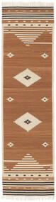 Tribal - Giallo Mostarda Tappeto 80X300 Moderno Tessuto A Mano Alfombra Pasillo Marrone/Marrone Chiaro/Beige (Lana, India)