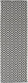 Torun - Nero/Neutral Tappeto 80X300 Moderno Tessuto A Mano Alfombra Pasillo Nero/Grigio Chiaro (Cotone, India)