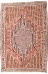 Kilim Senneh Tappeto 203X306 Orientale Tessuto A Mano Rosso Scuro/Marrone Chiaro (Lana, Persia/Iran)