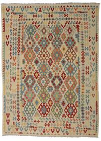 Kilim Afghan Old Style Tappeto 255X352 Orientale Tessuto A Mano Verde Oliva/Marrone Scuro Grandi (Lana, Afghanistan)