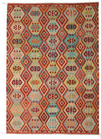 Kilim Afghan Old Style Tappeto 246X348 Orientale Tessuto A Mano Rosso Scuro/Verde Chiaro (Lana, Afghanistan)