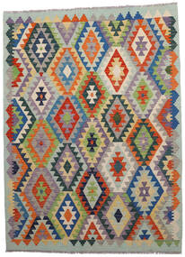 Kilim Afghan Old Style Tappeto 146X198 Orientale Tessuto A Mano Grigio Chiaro/Grigio Scuro (Lana, Afghanistan)