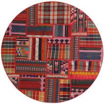 Tekkeh Kilim Tappeto Ø 150 Moderno Tessuto A Mano Rotondo Rosso Scuro/Ruggine/Rosso (Lana, Persia/Iran)