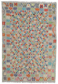 Kilim Afghan Old Style Tappeto 176X255 Orientale Tessuto A Mano Grigio Chiaro/Grigio Scuro (Lana, Afghanistan)