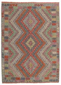 Kilim Afghan Old Style Tappeto 174X234 Orientale Tessuto A Mano Grigio Chiaro/Rosso Scuro (Lana, Afghanistan)