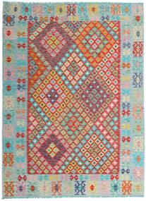 Kilim Afghan Old Style Tappeto 176X237 Orientale Tessuto A Mano Grigio Chiaro/Rosso Scuro (Lana, Afghanistan)