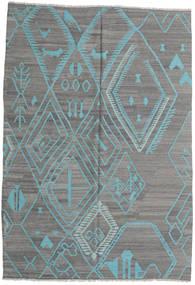 Kilim Moderni Tappeto 206X291 Moderno Tessuto A Mano Grigio Chiaro/Verde Scuro (Lana, Afghanistan)