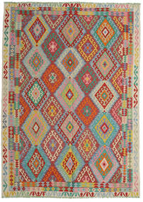 Kilim Afghan Old Style Tappeto 206X287 Orientale Tessuto A Mano Rosso Scuro/Blu Turchese (Lana, Afghanistan)