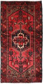 Hamadan Tappeto 107X207 Orientale Fatto A Mano Rosso Scuro/Marrone Scuro (Lana, Persia/Iran)