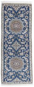 Nain 9La Tappeto 73X188 Orientale Fatto A Mano Alfombra Pasillo Grigio Chiaro/Blu Scuro (Lana/Seta, Persia/Iran)