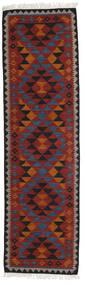 Kilim Isparta Tappeto 80X300 Moderno Tessuto A Mano Alfombra Pasillo Rosso Scuro/Nero (Lana, India)