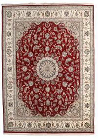 Nain Indo Tappeto 244X338 Orientale Fatto A Mano Grigio Chiaro/Rosso Scuro ( India)