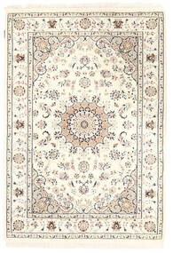 Nain Indo Tappeto 127X182 Orientale Fatto A Mano Beige/Grigio Chiaro ( India)
